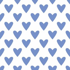 Tile vector pattern with hand drawn blue hearts on white background