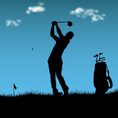Silhouette of golfer with bag on playground