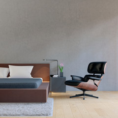 Minimal loft bedroom with modern armchair 3D rendering