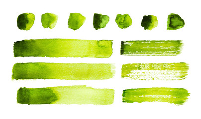 Fototapeta Green watercolor strokes and stains isolated on white background obraz