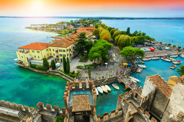 Spectacular panorama from the tower Scaliger, Sirmione, Garda lake, Italy Wall mural