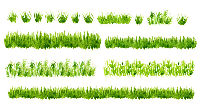 Watercolor green grass borders set isolated on white background