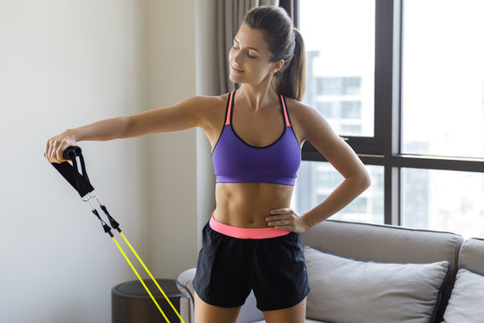 Home workout with a rubber resistance bands