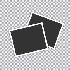 Retro realistic vector photo frame placed on transparent background. illustration.