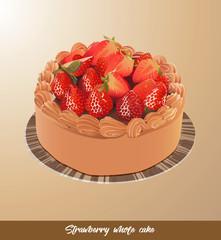 eps Vector image: Strawberry whole cake