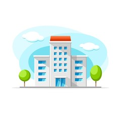 Flat vector modern house building colorful illustration. City house, apartment, residential object on isolated white background