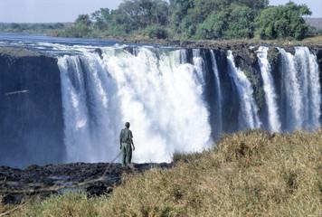 Le Cascate Victoria con il caratteristico arcobaleno, Zimbabwe, Africa