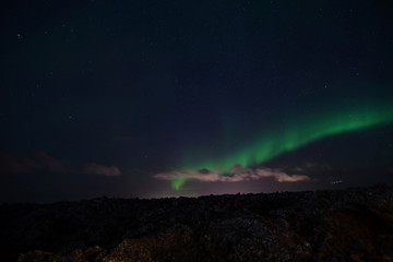 Iceland Aurora Northern Lights and star from near Blue lagoon