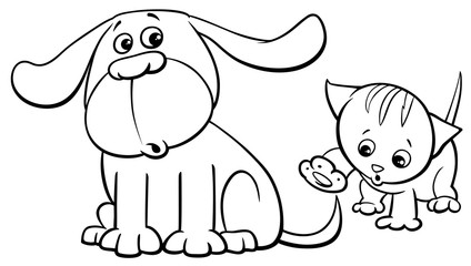 puppy and kitten characters cartoon color book