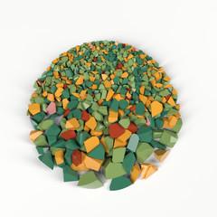 crushed coloured stone circle