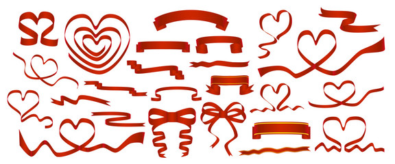 Vector set of red ribbons