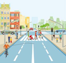 Straßenkreuzung mit Personen und Autos