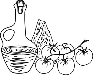 Hand Drawn Doodle Sketch Line Art Vector Illustration with Composition of Traditional Ingredients of Italian Cuisine. Olive Oil Bottle Chunk of Cheese Tomatoes on Branch. Menu Poster Recipe Concept.