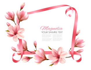 Beautiful nature background with blossom branch of magnolia and pink