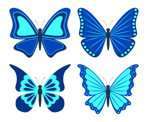 Set of butterflies. Isolated icons on white background. Flat style. Vector illustration.