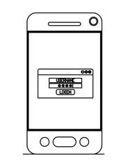 smartphone device with login menu vector illustration design