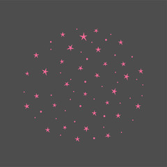 Vector background with pink stars. Hand drawn elements for your designs dress, poster, card, t-shirt
