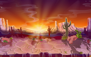 Vector cartoon desert landscape, seamless horizontal game background, panorama with nature, mountains, cactus, rocks, sunset sky, canyon with dry ground. Wild west, prairie scene illustration