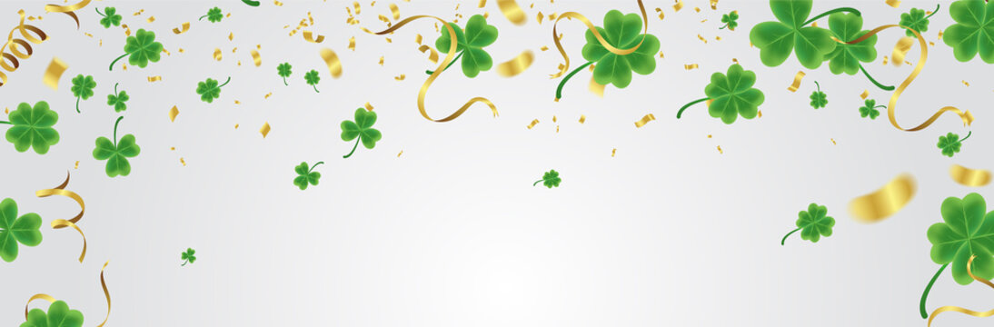 Celebration Happy St. Patrick's day lettering on sparkling dark green clover shamrock on transparent background. Art design festive fun decor glitters. Abstract concept graphic tinsel element .