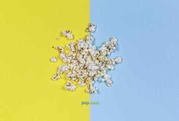 Popcorn, rest, snack, cinema, yellow, blue, background,