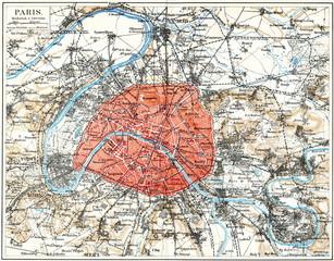 Map of Paris ca. 1890 (from Meyers Lexikon, 1896, 13/532/533)