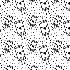 smartphone kawaii character pattern background vector illustration design