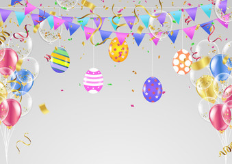 Easter eggs composition. Holiday background. Esp10 vector. Celebration background template with confetti