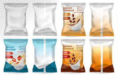 Polypropylene plastic packaging - instant porridge advert concept. Desing template. Vector illustration