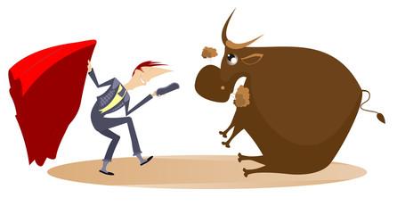 Cartoon bullfighter and tired bull illustration. Cartoon bullfighter takes off his hat and teases the tired bull isolated on white illustration
