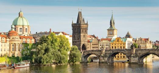 Wall Mural - Panorama of Vltava river and Charles bridge, Prague, Czech republic