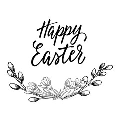 Happy Easter! Easter design simple drawing of wreath and eggs and hand written calligraphy.