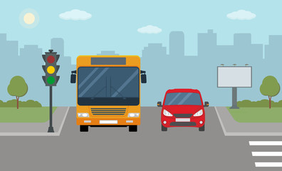 Red car and bus stopped at a traffic light. Modern vector illustration of urban landscape.