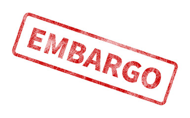 Embargo Stamp - Red Grunge Seal Wall mural