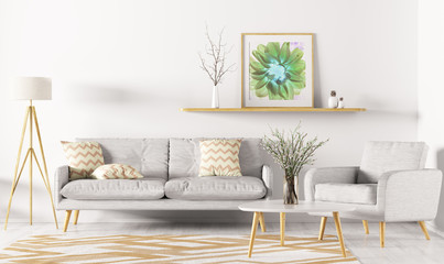 Interior of living room 3d rendering