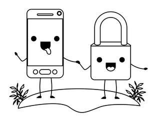 smartphone and padlock kawaii character vector illustration design