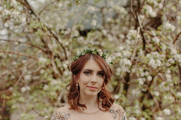 Simple Portrait of a Bride in front of a Flowering Tree