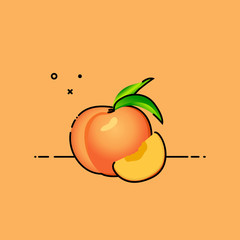 Peach isolated in orange background with slice in the side. Flat vector illustration.
