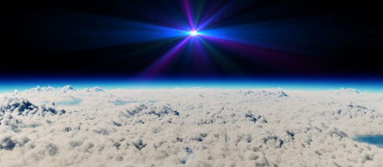 planet sunset above clouds