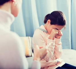 Mother reprimands her daughter