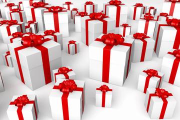 weiße geschenke mit roter schleife
