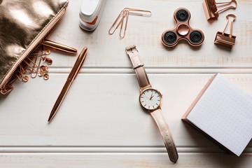 various rose gold stationery tabletop