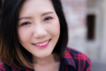beautiful smart asian woman with casual and relax smiling profile photo