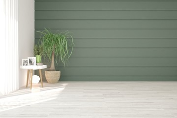 White empty room with green wall. Scandinavian interior design. 3D illustration