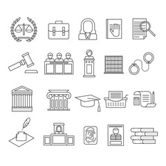 Law and Legal Signs Black Thin Line Icon Set. Vector