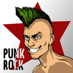 album s cover of mad man with a green mohawk, punk rock