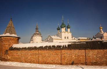 Rostov Kremlin in  snow in winter, Russia