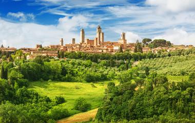 Panorama of San Gimignano and vineyards around this Italian beautiful city (UNESCO heritage),Italy Fototapete