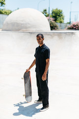 Unemotional man with skateboard
