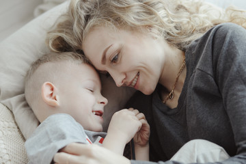 Beautiful young mother and son