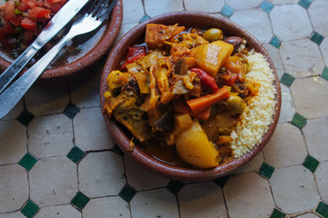 Moroccan meal served in cafe